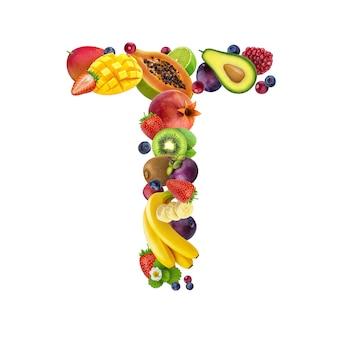 Letra t de diferentes frutas y bayas.