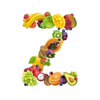 Letra z de diferentes frutas y bayas.