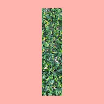Letras del alfabeto de forma i en estilo hoja verde sobre fondo rosa pastel para el diseño en su trabajo.
