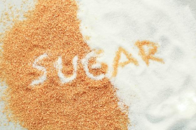 Letras de azúcar sobre azúcar