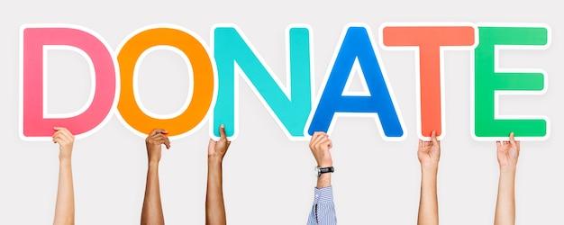 Letras coloridas que forman la palabra donar