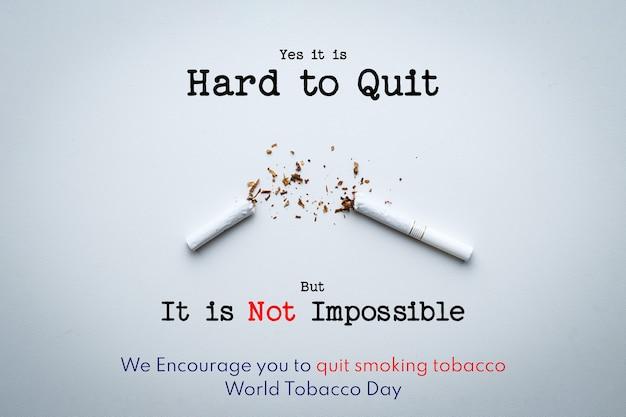 Letras del día mundial sin tabaco sobre fondo blanco. dejar de fumar concepto