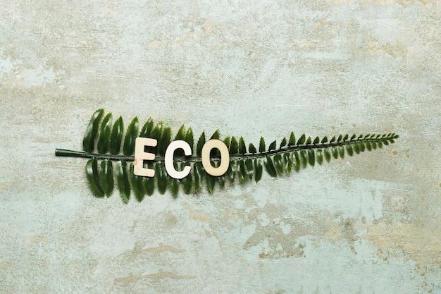 Letras ecológicas en hoja verde falsa