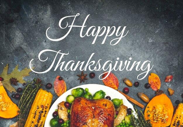Letras de feliz acción de gracias sobre un fondo de cena festiva fondo de mesa de comida