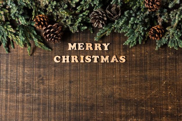 Letras de feliz navidad con espacio de copia