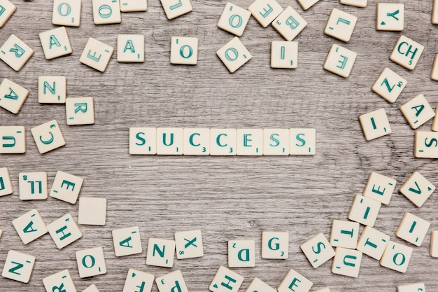 Letras formando success
