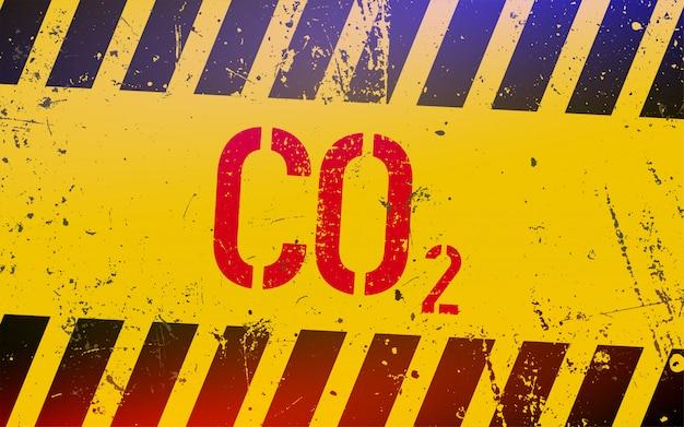 Letras de gas co2 en señal de peligro con rayas amarillas y negras.