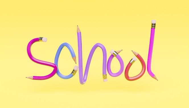 Letras a lápiz con la palabra escuela