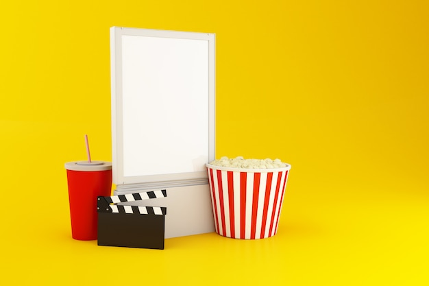 Letrero en blanco 3d. concepto de cine