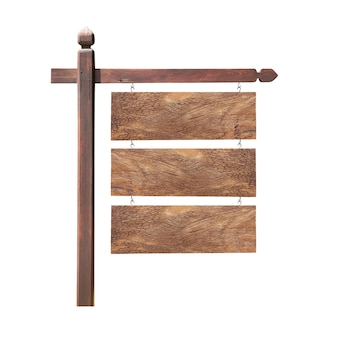 Letrero colgante de madera para agregar su texto aislado en blanco