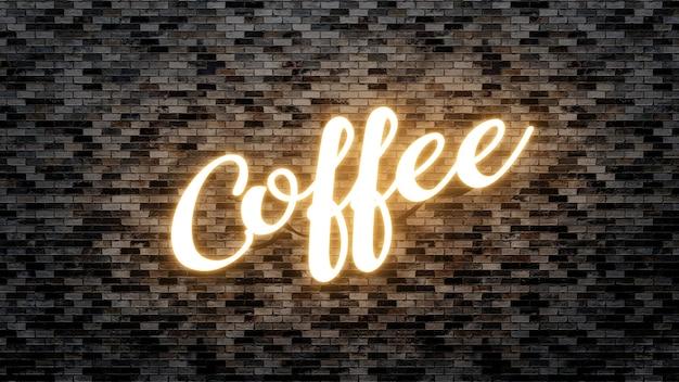 Letrero de neón de café sobre fondo de pared de ladrillo