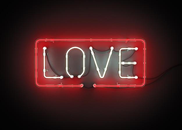 Letrero de neón, las letras amor en un fondo negro representación 3d