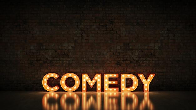 Letrero de neón en la pared de ladrillo renderizado 3d comedia de fondo