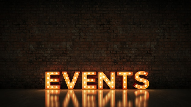 Letrero de neón en la representación 3d de los eventos del fondo de la pared de ladrillo