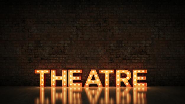 Letrero de neón en la representación 3d del teatro del fondo de la pared de ladrillo