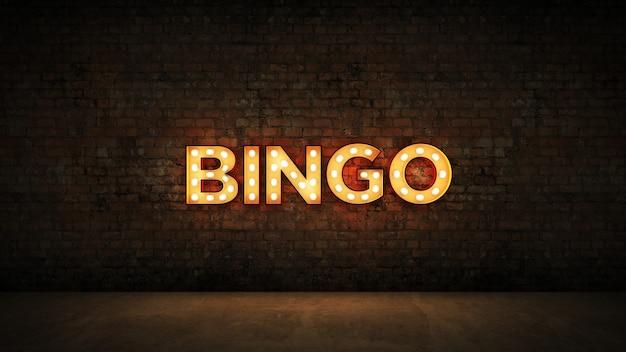 Letrero de neón sobre fondo de pared de ladrillo bingo render 3d