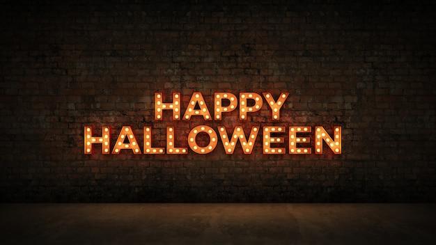 Letrero de neón sobre fondo de pared de ladrillo feliz halloween render 3d