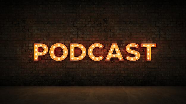 Letrero de neón sobre fondo de pared de ladrillo podcast render 3d