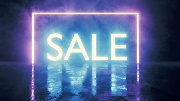 Letrero de venta led brillante con reflejo de luz en el piso de grunge
