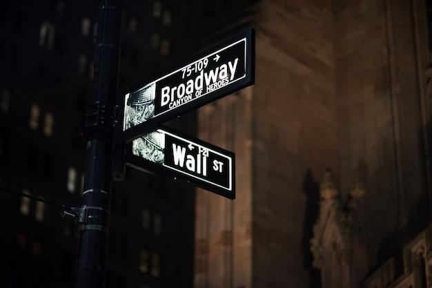 Los letreros de broadway y wall street en la noche, manhattan, nueva york