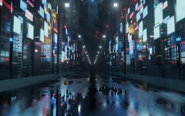 Letreros y vallas publicitarias brillantes en la ciudad con reflejo de luz en la calle mojada