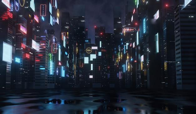 Letreros y vallas publicitarias brillantes en edificios de la ciudad por la noche