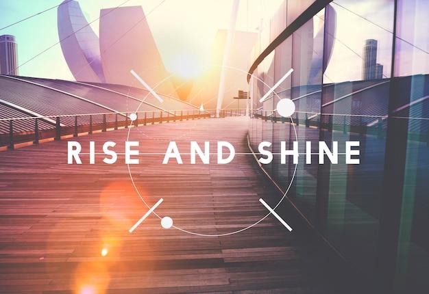 Levántese y brille el concepto de progreso del logro del éxito del crecimiento