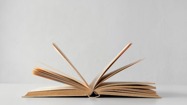 Libro abierto con fondo blanco.