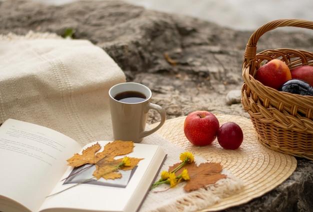 Libro abierto con una hoja amarilla y una flor, una canasta con manzanas y una tetera con té en una piedra más grande, en el fondo del lago