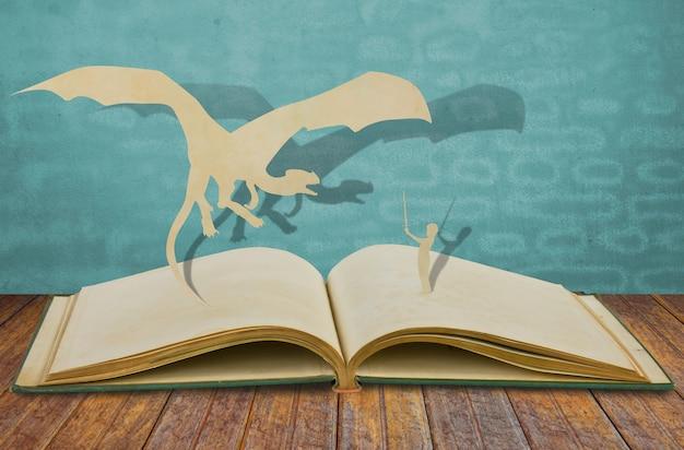 Libro abierto con personajes