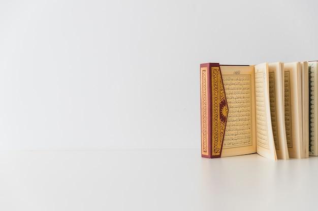 Libro abierto de pie en blanco