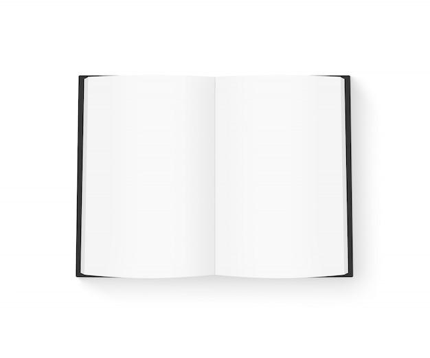 Libro en blanco abierto con tapa negra simulacro aislado en blanco