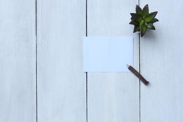 El libro blanco, el lápiz y la maceta de la visión superior en el piso de madera blanco y tienen espacio de la copia.