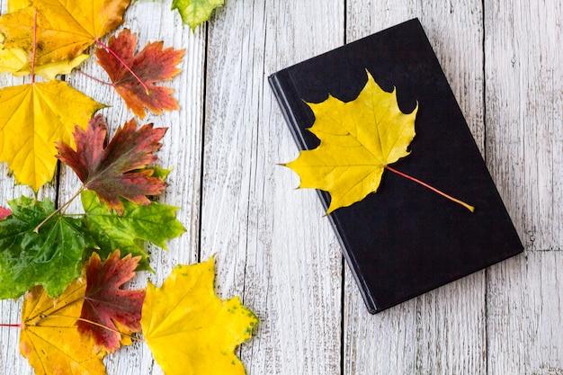 Libro y coloridas hojas de arce sobre fondo blanco de madera
