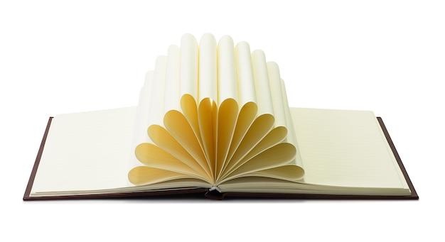 Libro creativo aislado sobre fondo blanco con trazado de recorte