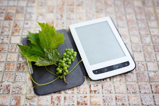 Libro, e-book, verano y vacaciones, lectura, fruta.