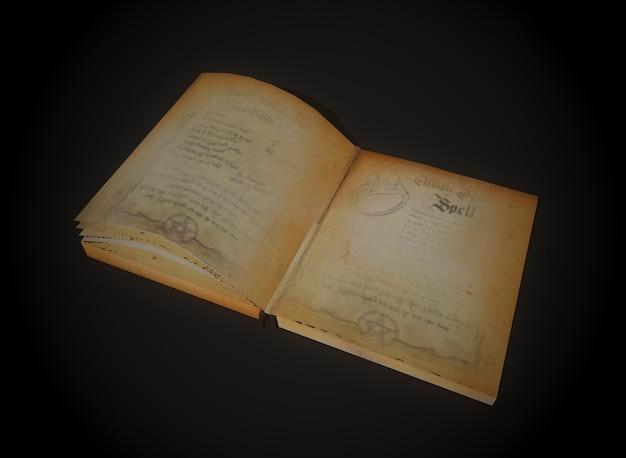 Libro de hechizos de terror en la representación 3d de fondo