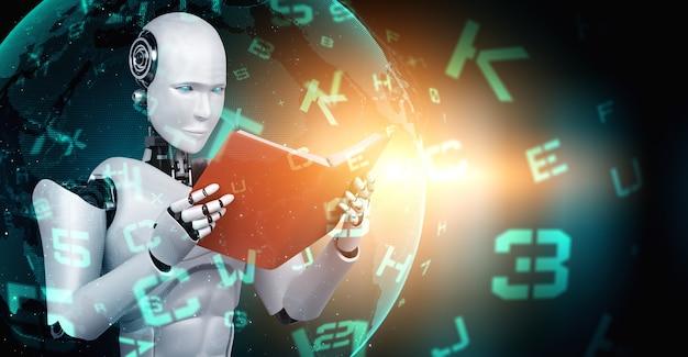 Libro de lectura robot humanoide en concepto de futuro