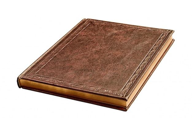 Libro marrón con páginas de oro aislado