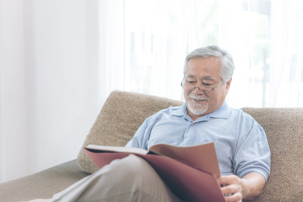 Libro masculino de la lectura de la lectura masculina mayor, sonriendo sentirse feliz en el sofá en casa