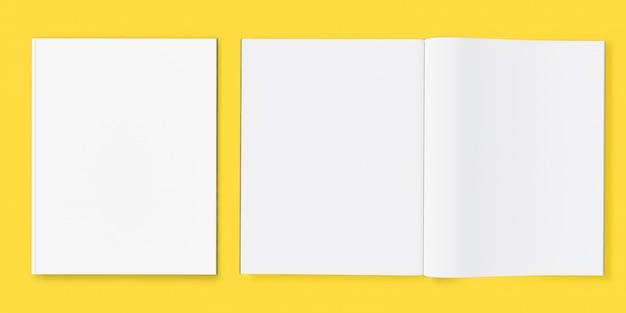 Libro de portada de revista y maqueta de libro abierto flotando sobre fondo blanco con trazado de recorte para revista de diseño, ilustración 3d
