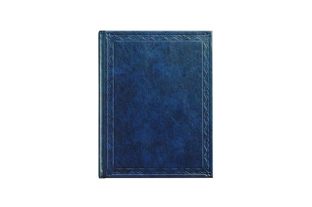 Libro con tapa de color azul aislado sobre fondo blanco.