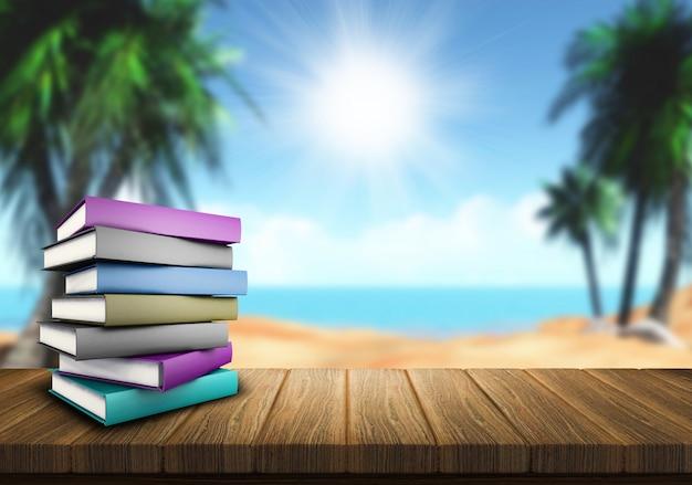 Libros apilados junto al mar