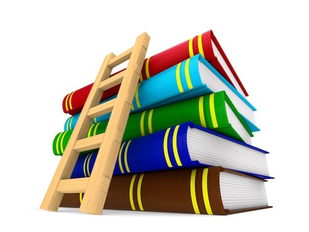 Libros y escalera en espacios en blanco. ilustración 3d aislada