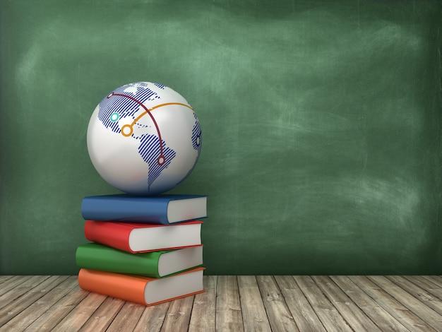 Libros y globe world en pizarra