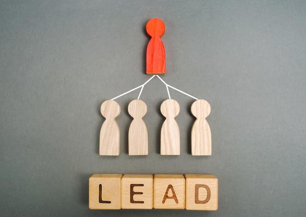 El líder está asociado con los empleados y la palabra plomo. sistema jerárquico de negocios