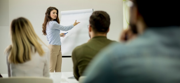 Líder femenino positivo creativo hablando de plan de negocios con estudiantes durante el taller