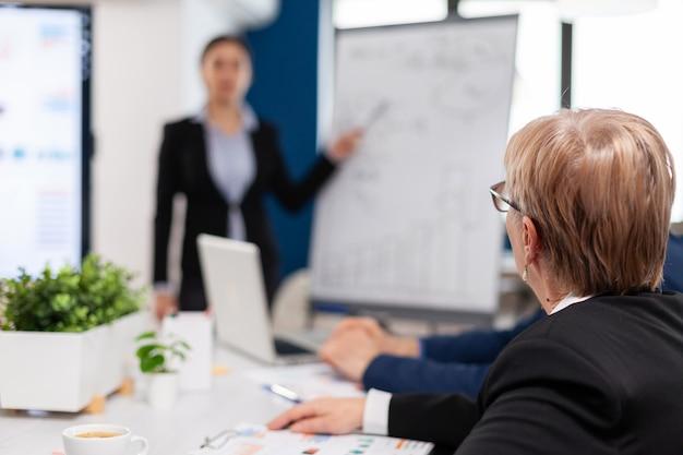 Líder haciendo informes de ventas para los principales gerentes de la empresa dibujando gráficos en la pizarra. ejecutivo jefe orador serio, capacitador de negocios que explica la estrategia de desarrollo a empleados motivados de raza mixta.