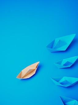 Liderazgo concepto origami barco papel