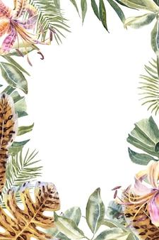 Lili flores con estampado de piel animal, hojas tropicales. frontera de flores de tigre